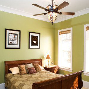Green Bedroom With Ceiling Fan